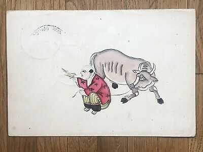 CHINA OLD POSTCARD HAND PAINTED CHINESE BOY BUFFALO SHIP POST TO SHANGHAI 1901!!