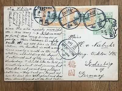 CHINA OLD POSTCARD CHEKIANG YUNHO CHUCHOW VIA WENCHOW SHANGHAI TO GEMANY 1910 !!
