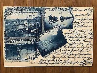 PERSE REGISTERED OLD POSTCARD MULTIVIEW PALACE BRIDGE TEHERAN TO GERMANY 1899 !!