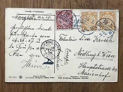 CHINA OLD POSTCARD CHINESE FRUIT SELLER SHANGHAI TO AUSTRIA EUROPE 1908 !!