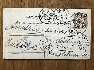 CHINA OLD POSTCARD THREASHING KAOLIANG PEITAIHO VIA TANGKU TO AUSTRIA 1908 !!