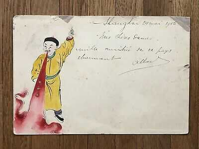 CHINA OLD POSTCARD HAND PAINTED CHINESE MANDARIN SHANGHAI TO BELGIUM 1906 !!