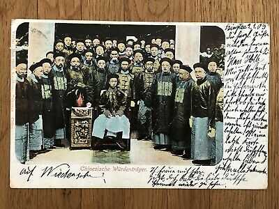 CHINA OLD POSTCARD CHINESE EXPEROR TSINGTAU VIA SIBERIA TO GERMANY 1909 !!