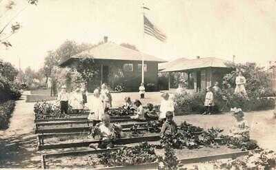 c1910 SANTA BARBARA rppc KINDERGARTEN SCHOOL Children & GARDEN  California