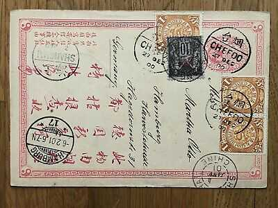 CHINA OLD POSTCARD COILING DRAGON FRENCH POST CHEFOO TO GERMANY 1901 !!