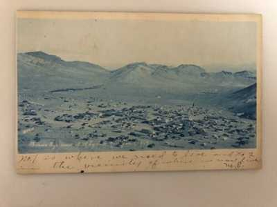 RARE, ANTIQUE BIRDS EYE VIEW OF RHYOLITE, NEVADA 1907.
