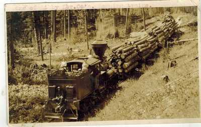 RPPC Real Photo Postcard Libby Lumber Co Logging Train Libby Montana