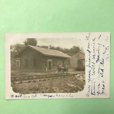 Hyndsville New York NY RPPC Postcard 1907 Railroad Train Depot Station