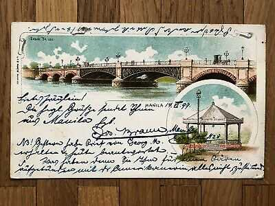PHILIPPINES OLD POSTCARD BRIDGE MANILA PRIVATE MAILING CARD TO GERMANY 1899 !!