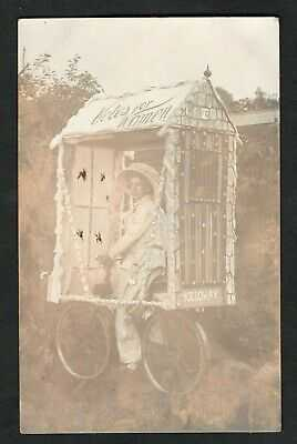 RP SUFFRAGETTE VOTES FOR WOMEN LADY  HOLLOWAY PRISON BICYCLE FLOAT c1912 R PHOTO
