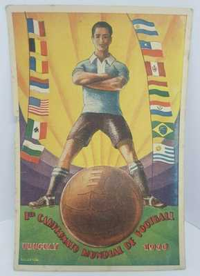 URUGUAY FIFA WORLD CUP SOCCER 1930 ANTIQUE FOLD OUT POSTCARD w/ COUNTRY PHOTOS