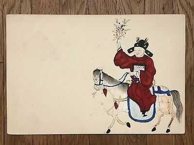 CHINA OLD POSTCARD HAND PAINTED CHINESE MANDARIN RIDE ON THE HORSE !!