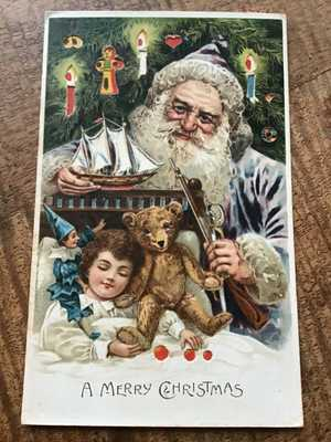 SANTA HOLD-TO-LIGHT w/ TEDDIE BEAR Pond Yacht FABULOUS dated 1909 POSTCARD