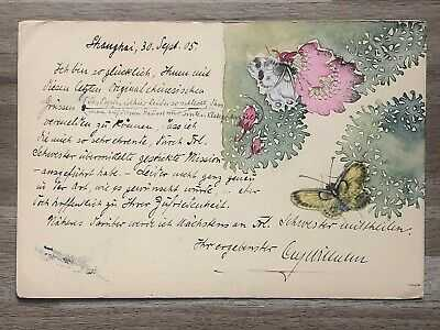 CHINA OLD POSTCARD HAND PAINTED BUTTERFLY FLOWER SHANGHAI TO AUSTRIA 1905 !!