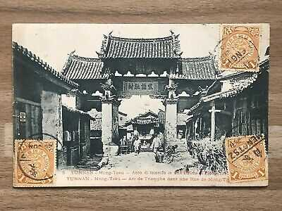 CHINA OLD POSTCARD YUNNAN TEMPLE COILING DRAGON MONGTSZ TO FRANCE 1910 !!