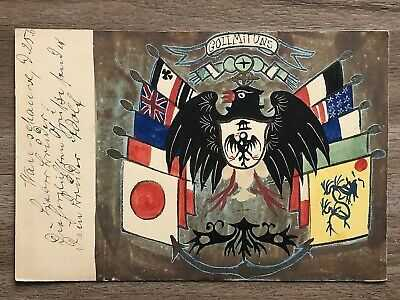 CHINA OLD POSTCARD HAND PAINTED CHINESE IMPERIAL DRAGON FLAG PEKING TO GERMANY!!