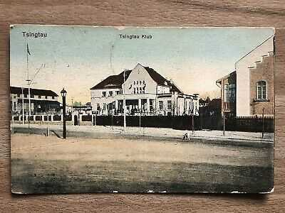 CHINA OLD POSTCARD TSINGTAU CLUB TSINGTAU TO GERMANY 1913 !!
