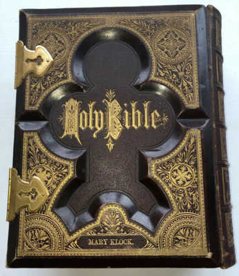 Antique 1874 Family Bible Amos & Mary Klock St Johnsville, NY