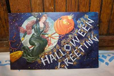 ANTIQUE VTG. HALLOWEEN POSTCARD WITCH BROOM MOON  PUMPKIN JOL EMBOSSED 1909 POST
