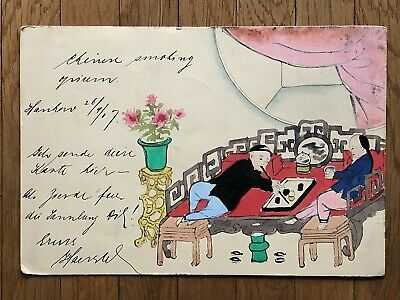 CHINA OLD POSTCARD HAND PAINTED CHINESE PEOPLE SMOKING HANKOW TO GERMANY 1907 !!
