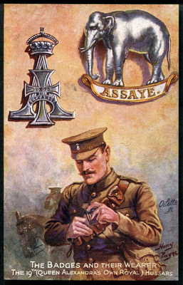 "19th (QAOR) HUSSARS. Tuck ""BADGE & WEARER"" (Khaki) series 3205. HARRY PAYNE 1918"