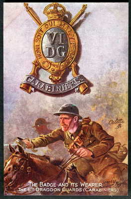 "6th DRAGOON GUARDS. Tuck ""BADGE & WEARER"" (Khaki) series 3204. HARRY PAYNE 1918"