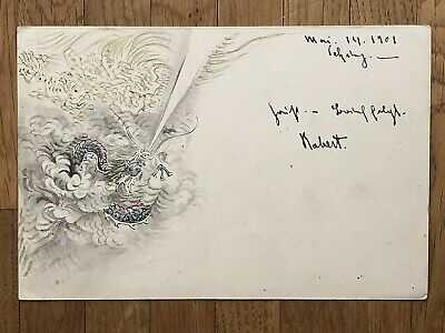 CHINA OLD POSTCARD HAND PAINTED CHINESE IMPERIAL DRAGON PEKING TO GERMANY 1901!!