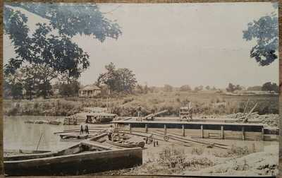1915 New Concrete Locks at Long Lake IL C R Childs Real Photo Post Card RPPC