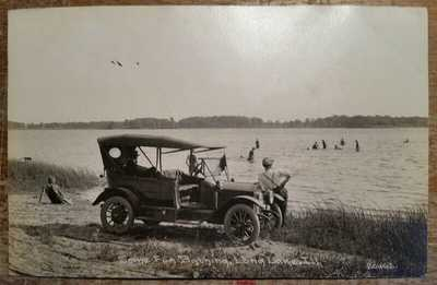 c1910 Some Fun Bathing Long Lake IL RPPC Model T Auto C R Childs Photo 20462