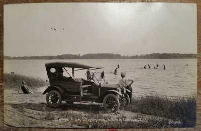 c1910 Some Fun Bathing Long Lake IL RPPC Model T Auto C R Childs Photo 20462
