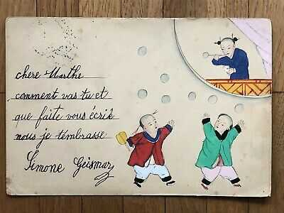 CHINA OLD POSTCARD HAND PAINTED CHINESE CHILDREN SHANGHAI TO GERMANY 1906 !!