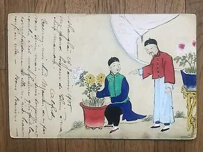 CHINA OLD POSTCARD HAND PAINTED CHINESE MEN FLOWER SHANGHAI TO BELGIUM 1905 !!