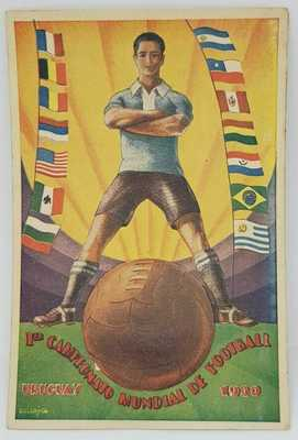 URUGUAY WORLD CUP SOCCER FIFA 1930 ANTIQUE FOLD OUT POSTCARD w/ COUNTRY PHOTOS