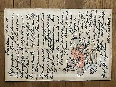 CHINA OLD POSTCARD HAND PAINTED CHINESE CHILDREN TIENTSIN TO TANGSHAN 1901 !!
