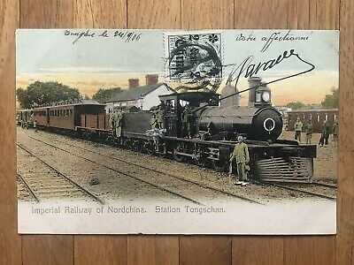 CHINA OLD POSTCARD IMPERIAL RAILWAY STATION TONGSCHAN TONGKU TO FRANCE 1906 !!
