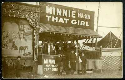 RPPC CELRON PARK NY MINNIE HA HA THAT GIRL CIRCUS SIDESHOW FREAK WOOLSEY