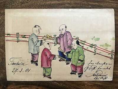 CHINA OLD POSTCARD HAND PAINTED CHILDREN PLAYING TIENTSIN TO GERMANY 1901 !!