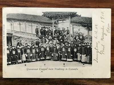 CHINA OLD POSTCARD GOUVERNEUR TROOP TSINANFU TSINGTAU TO GERMANY 1909 !!