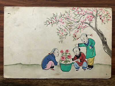 CHINA OLD POSTCARD HAND PAINTED CHINESE BOYS FLOWER TO GERMANY 1910 !!
