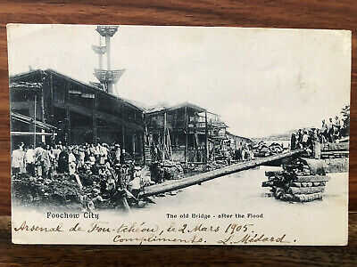 CHINA OLD POSTCARD OLD BRIDGE FOOCHOW CITY PAGODA ANCH TO FRANCE 1905 !!
