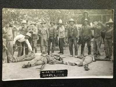 Mexican Revolution Postcard (RPPC), Displaying bodies after the Battle of Juarez