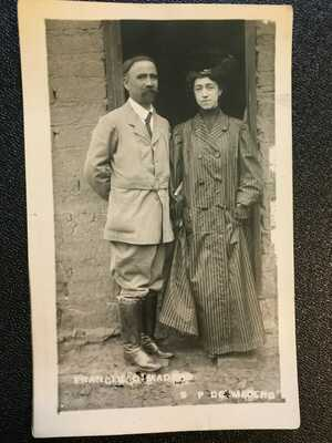 Mexican Revolution Postcard (RPPC), Francisco Madero and Wife, Sara Perez