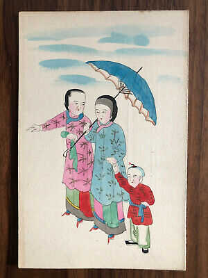 CHINA OLD POSTCARD HAND PAINTED CHINESE WOMEN WITH CHILD !!