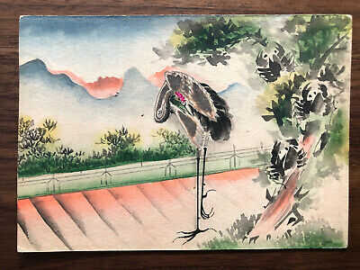 CHINA OLD POSTCARD HAND PAINTED CRANE SIN UNGAN TO FRANCE 1909 !!