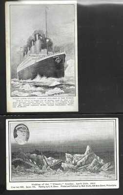 Titanic Postcards, 2 mint cards with slight soiling. Once again I checked 724 li