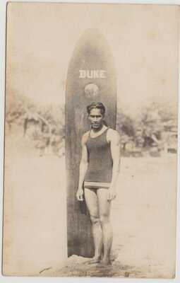 Young Duke Kahanamoku with his surfboard Real Photo Postcard c1913 Hawaii Surfer