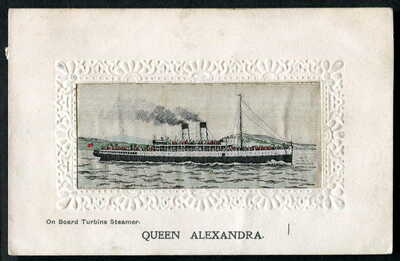 "TSS ""QUEEN ALEXANDRA"" Turbine Steamers Ltd. STEVENGRAPH Woven Silk panel pc 1912"