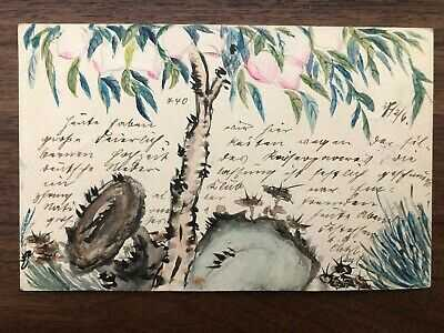 CHINA OLD POSTCARD HAND PAINTED CHINESE PEACH TIENTSIN TO GERMANY 1906 !!