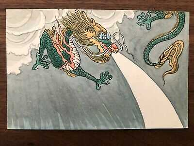 CHINA OLD POSTCARD HAND PAINTED CHINESE DRAGON !!