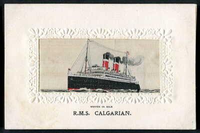 "RMS ""CALGARIAN"" Allan Line (Torpedoed & Sunk WW1). STEVENGRAPH Woven Silk. 1914"